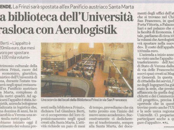 ARTURO FRINZI UNIVERSITY LIBRARY MOVES THANKS TO AEROLOGISTIK
